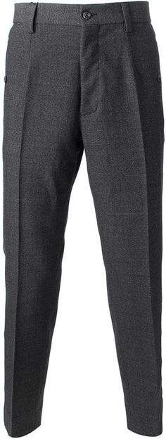 $631, Charcoal Wool Dress Pants: Dolce
