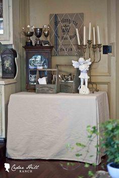 Cedar Hill Farmhouse: No-Sew Table Cover from Drop cloth! Easy as pie. www.cedarhillfarmhouse.com