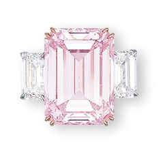 'The Perfect Pink' - superb coloured diamond and diamond ring. Set with a rectangular-shaped fancy intense pink diamond weighing carats, flanked on either side by a rectangular-shaped diamond weighing and carats, mounted in rose and white gold Pink Diamond Ring, Emerald Cut Diamonds, Colored Diamonds, Diamond Cuts, Pink Diamonds, Pink Diamond Wedding Rings, Most Expensive Jewelry, Bijoux Art Deco, Charms