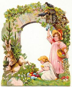 Oblaten-Glanzbilder-scrap-chromo: Das Osterfest um 1900 -13x11cm