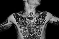 owl tattoo - chest piece