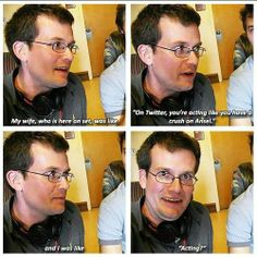 John Green on Ansel Elgort. John green is a fangirl just like us Jhon Green, John Green Books, Funny Memes, Hilarious, Tfios, Fandoms, This Is A Book, The Fault In Our Stars, Augustus Waters