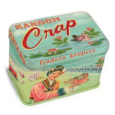 "Random Crap Jr. Tin Treasure Box  $5.99 -- so funny. Who doesn't have a tin or box with ""random crap""? lol"