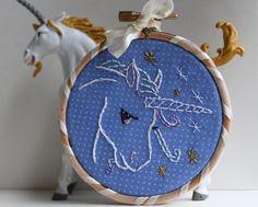 Little Unicorn embroidery hoop art. $20.00, via Etsy.