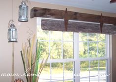 Very Rustic Window treatment. Only make a cornice with one piece of barn wood for dining room windows and laundry room window. Rustic Window Treatments, Sliding Door Window Treatments, Window Cornices, Window Coverings, Ideas For Window Treatments, Window Blinds, Window Shutters, Barn Door Window, Barn Door Decor