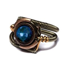 BLUE AMBER WIRE WRAPPING RING