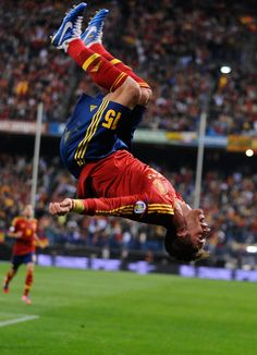Sergio Ramos of Spain celebrates after scoring Spain's opening goal during the FIFA 2014 World Cup Qualifier between Spain and France at Estadio Vicente Claderon on October, 16 2012 in Madrid, Spain. Photo by Denis Doyle/Getty Images