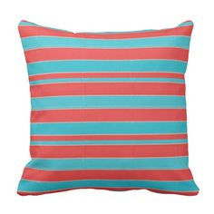 Coral+and+Teal+Striped+Pillow
