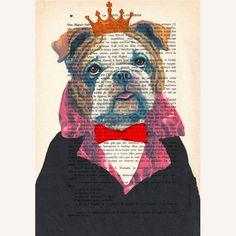 The Original Bulldog King ORIGINAL ARTWORK Hand by Cocodeparis, $10.00