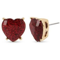 Betsey Johnson Red Gold-Tone Glitter Heart Stone Stud Earrings ($25) ❤ liked on Polyvore featuring jewelry, earrings, red, brincos, glitter earrings, gold tone earrings, stone jewelry, red jewelry and betsey johnson jewelry