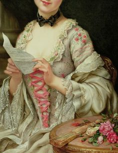 The Love Letter (detail), François Martin-Kavel, undated. Oil on canvas. Criss-cross lacing!