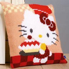 """""""Hello Kitty - Pie Baking"""": kruissteekkussen, zelf te borduren op voorgeschilderd stramien"""