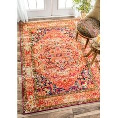 nuLOOM Traditional Flower Medallion Orange Rug (5'3 x 7'7) | Overstock.com Shopping - The Best Deals on 5x8 - 6x9 Rugs