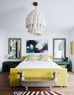 Snob founder Denise Zidel masterfully mixes vibrant color with global-inspired design in her quirky principal bedroom. Decor, Bedroom Decor Cozy, Rustic Chic Bedroom, Bedroom Inspirations, Chic Bedroom, Chic Bedroom Design, Shabby Chic Bedroom, Interior Design Bedroom, Simple Room
