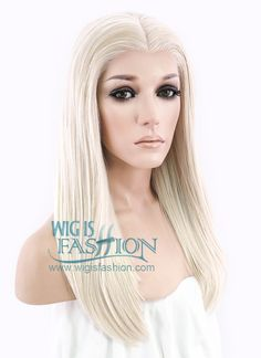 """16"""" Medium Straight Light Blonde Lace Front Synthetic Hair Wig LF836B - Wig Is Fashion"""