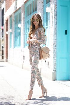 Floral jump suit + nude pointed toe heels