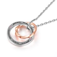 "925 Sterling Silver Pink Cubic Zirconia CZ ""Pour Mon Amour"" Interlocking Couple Rings Necklace, 19"" . https://www.noblag.com/925-sterling-silver-pink-cubic-zirconia-cz-pour-mon-amour-interlocking-couple-rings-necklace-19.html"
