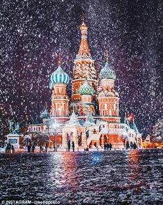 My name is Kristina Makeeva, I'm a photographer from Moscow. I would like to show you how beautiful our city is before the New Year. When people ask me what is the best time for a visit to Moscow, I always say that it's winter. Moscow Winter, Storm Images, Meditation France, St Basils Cathedral, Russian Winter, St Basil's, Russian Architecture, Winter Photos, Photos Du