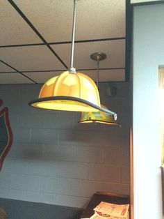 Lamp shade with a old fire department helmet