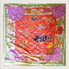 fish printed scarf by Ken done 100% silk scarf fish print vacation style scarf by Ken done Anthropologie Accessories Scarves & Wraps