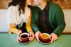 A coffee shop engagement session by Urban South Photo