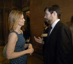 Actress Cynthia Nixon, left, talks with Sen. Daniel Squadron D- Brooklyn, after asking lawmakers to pass legislation to legalize same-sex marriage in New York.