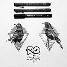 geometric bird with lines