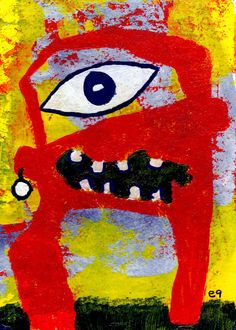 one pearl earring e9Art ACEO Outsider Art Brut Alien Intuitive Painting Humor #OutsiderArt