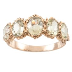 Chryslite 5 stone ring | From a unique collection of vintage band rings at http://www.1stdibs.com/jewelry/rings/band-rings/