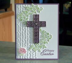 Handmade Happy Easter Card - Stampin Up Hold on to Hope - Ornamental Die-Cut Cross & Branches