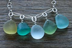 Sea Glass Jewelry Multi Color Festoon Style Necklace Stelring Silver Rare Colors