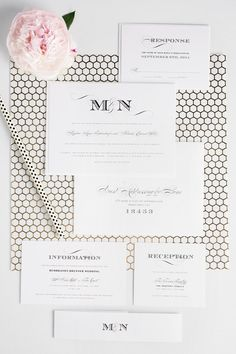 Gold Honeycomb Styled Shoot | Ornate, elegant, vintage monogram wedding invitations in black and white with bold engraver's type