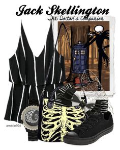 """""""Jack Skellington, The Doctor's Companion"""" by amarie104 ❤ liked on Polyvore featuring Disney, Ayaka Nishi and Converse"""