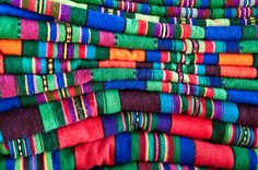 Striped cloth made of wool on the loom - typical for regions of Łowicz and Opoczno in Poland