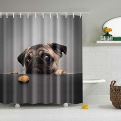 Fangkun Shower Curtain Art Bathroom Decor Animals Cute Pug Dog Design - Waterproof, Soap, and Mildew resistant - Machine Washable - Shower Hooks 72 x 72 inches) Plastic Curtains, Hanging Curtains, Bathroom Shower Curtains, Fabric Shower Curtains, Bathroom Flooring, Bathroom Stuff, Diy Curtains, Carlin, Curtain Material