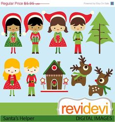 70 OFF SALE Santa's Helper Cliparts 08110.. cute by revidevi