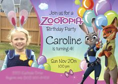 Sample. Zootopia Birthday Invitation for Girls | Customize it with your daughter along the bunny Judy Hopps and the fox Nick Wilde. #zootopia #zootopiainvitations #judyhoops #nickwilde #myheroathome