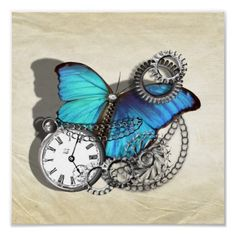 Steam Punk Butterfly Pocket Watch Silver Teal Blue  A fabulous poster print done in a steam punk style, pretty teal blue butterfly, silver pocket watch, chains and cogs set on a vintage inspired background of aged creased paper. A great modern look which will look great on any wall.