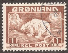 "Greenland 1938 Scott 9 1k light brown ""Polar Bear"""
