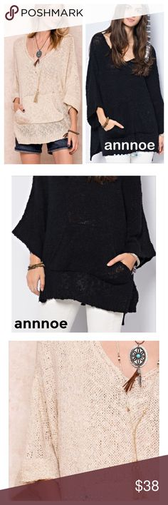 New Arrival PERFECT for summer evenings or cool mornings in a COLOR YOU CAN WEAR YEAR ROUNDThis is a BLACK 100% acrylic sweater.  It is a soft and slouchy pullover with rolled 3/4 sleeves and a pouch style pocket.  It is only available in BLACK at this time. GREAT FOR ALL BODY TYPES!  FIT GUIDE: S/M (measures 28 in from pit to pit) M/L (measures 29 inches from pit to pit) Sweaters Shrugs & Ponchos