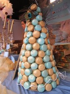 Peacock themed macarons tower