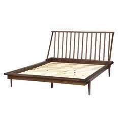 Attain the best of comfort at rest along with unparalled look when using this Walker Edison Furniture Company Solid Wood Modern Walnut Queen Spindle Bed. Spindle Bed, Walnut Furniture, Wood Headboard, Wood Beds, Wood Dust, Adjustable Beds, Modern Farmhouse Style, Wood Slats, Porch Swing