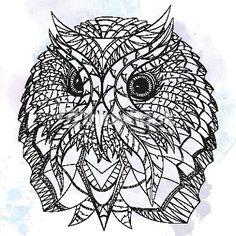Vector Art: Uil in etnisch design.