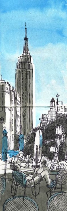 watercolor, ink, sewing Empire State Building. New York City. Elizabeth Baddeley