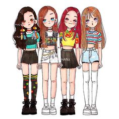 Blackpink - fan art - in the middle of Red Velvet fan art? This is not acceptable Mr M. heads should roll, although I'll accept a bit of rocking, without the rolling. Best Friend Drawings, Kpop Drawings, Kawaii Drawings, Cute Drawings, Blackpink Memes, Cartoon Girl Drawing, Kim Jisoo, Chibi Girl, Anime Girl Cute