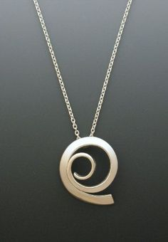 Sterling Silver Pendant, Large Offset Spiral, Jewelry, Large Silver Pendant, Artisan Jewelry, Forged Silver Jewelry