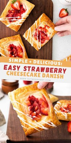 This easy strawberry cheesecake Danish bakes up in just 20 minutes and gives you all the breakfast pastry flavor you crave. You'll love how easy this delicious treat is to make! Frozen Desserts, Fun Desserts, Delicious Desserts, Awesome Desserts, Breakfast Pastries, Savory Breakfast, Sweet Breakfast, Breakfast Time, Fun Easy Recipes