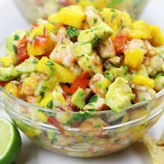 Refreshing and satisfying, Mango Shrimp Salsa is a fruity seafood feast that is perfect for parties or as a meal on hot summer nights. Fish Recipes, Seafood Recipes, Appetizer Recipes, Mexican Food Recipes, Salad Recipes, Vegetarian Recipes, Cooking Recipes, Healthy Recipes, Barbecue Recipes