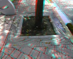 "Art Deco cement tree surround - Washington Avenue - Google ""anaglyph glasses"" to view in 3D!"