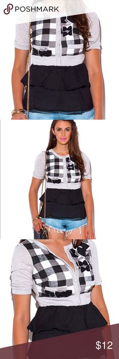 Schoolgirl Checker Layer Top Shirt Bow Ruffle This Cute Top Has All The Details Make You The Cutest Doll In Town! Get The Layered Look Without Going Through The Hassle Of Mixing And Matching, This Faux Cardigan And Blouse Layered Ensemble Is An Adorable Outfit All By Itself. Looks Super Cute With Jeans And Denim Shorts. Boutique Tops Blouses